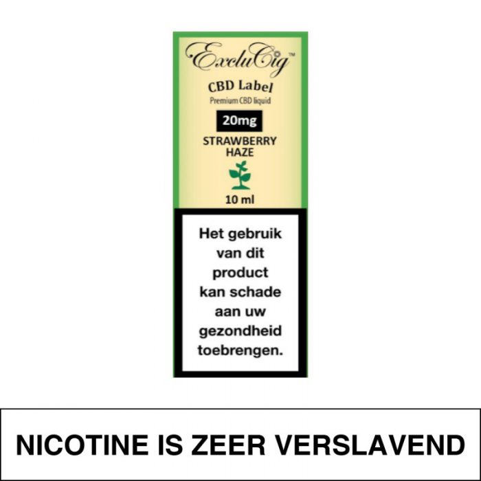 Exclucig Cbd Label E-Liquid Strawberry Haze 20Mg Cbd 10Ml
