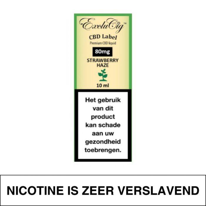 Exclucig Cbd Label E-Liquid Strawberry Haze 80Mg Cbd 10Ml